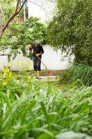 Bildnr.: 11501032<br/><b>Feature: 11501027 - Gr&#252;ne Oase in der Stadt</b><br/>Galeristin Elly liebt es in ihrem Garten zu lustwandeln und zu meditieren, Dresden<br />living4media / Krieg, Roland