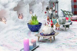 Bildnr.: 11952526<br/><b>Feature: 11952521 - Teekr&#228;nzchen im Schnee</b><br/>Dick eingepackt mit vielen Kerzen und hei&#223;em Punsch wird die Outdoor Teestunde zum Genuss<br />living4media / K&#252;barsepp, Juta