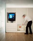 Modern living room cabinet as room divider