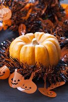 Pumpkin with Halloween garland