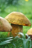 Wooden carved mushroom garden ornaments