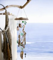 Close-up of wooden wind chime