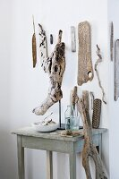 Wall decoration and other decorative objects made from flotsam and jetsam found on the beach