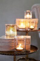 Tealight holders on side table