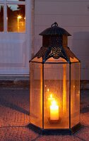 Floor lantern in front of exterior door