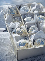 Christmas tree baubles in box