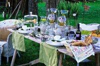 Set table in a spring garden
