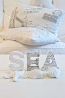 White-painted letters and seashells on white background