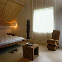 Attic bedroom with modern furniture and Japanese atmosphere