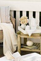 Afternoon break on veranda - tea service on side table