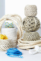 Balls of different types of twine and cord