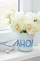 Vase decorated with rope letters