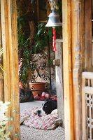 View of dog on terrace floor through doorway