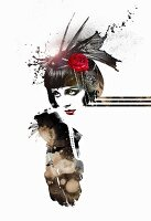 Flapper girl on white background (print)
