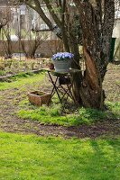 Vintage garden table with violet flowers in a galvanized container in front of an old tree in the garden