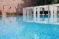 Luxurious swimming pool of Raas Haveli Hotel, Jodhpur, India
