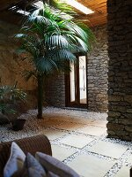 Roofed patio with palm tree in front of modern stone house