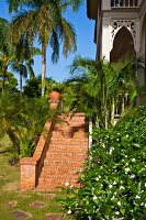 Exterior steps of red bricks leading to house in garden of palm trees