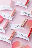 Place names for guests with decorated clothes pegs for attaching tags
