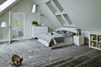 Silver grey, attic bedroom with cats playing on bed and on long-pile carpet