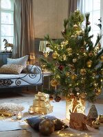 Decorated Christmas tree and presents on floor in front of bench with metal frame in rustic living room