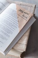 Bookmark & book cover made from newspaper