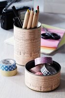 Hand-crafted pen holder & storage tin for desk