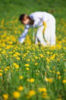 Woman dressed in white in field full of dandelions picking flowers for a head wreath