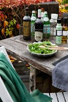 Bottles of wine in wire baskets, dish of salad and bottles of dressing on rustic table; autumnal vine foliage in background