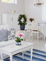 Swedish-style, blue & white interior