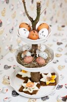 Fried eggs on bread and Easter decorations on cake stand