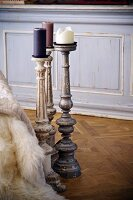 Shabby chic candlesticks on Versailles parquet floor