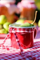 Pear in red enamel mug decorated with ribbon on red and white gingham tablecloth in garden