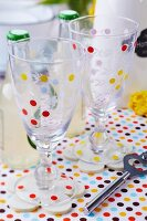 Glasses decorated with colourful dots