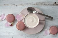 Hot chocolate, macaroons and peony petals