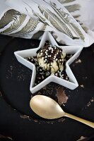 Festive ice-cream dessert decorated with chocolate sprinkles