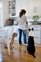 Woman at sink in fitted kitchen, two dogs sitting on floor and dining area with vintage chairs