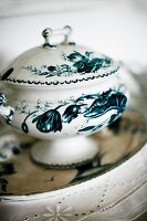 Blue and white painted, china tureen with lid