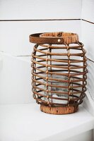 Oval wicker lantern