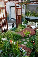 View down into peaceful oasis with planted wooden deck and Oriental-style wooden screens