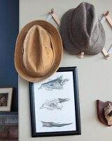Two men's hats hanging from hat pegs above framed drawings of animal skulls