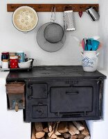 Vintage kitchen stove with firewood store