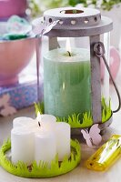 Spring arrangement of candles with green felt trim imitating grass