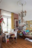 Mix of patterns and styles in colourful, jumbled sewing room