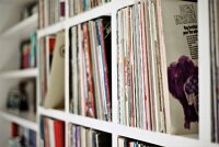 Detail of record collection on shelving