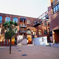 Converted warehouse loft complex in red brick