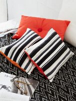 Homemade cushions made from old jumpers