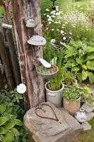 Metal dish mounted on wooden post with bracket fungus, metal heart arranged on rock and potted plants