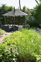 Cosy, elegant seating area in garden with grey modern rattan furniture, parasol and bed of green plants