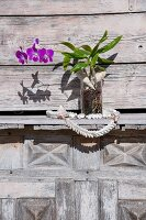 Purple-flowering orchid in glass vase on wooden shelf outside